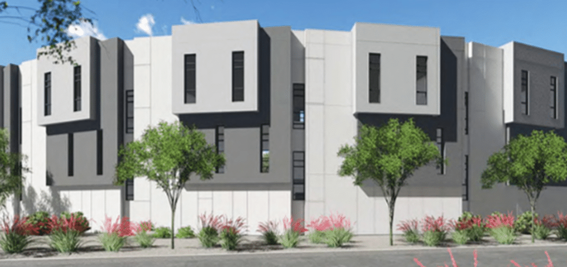 A rendering of the exterior of Eclipse Townhomes in Scottsdale