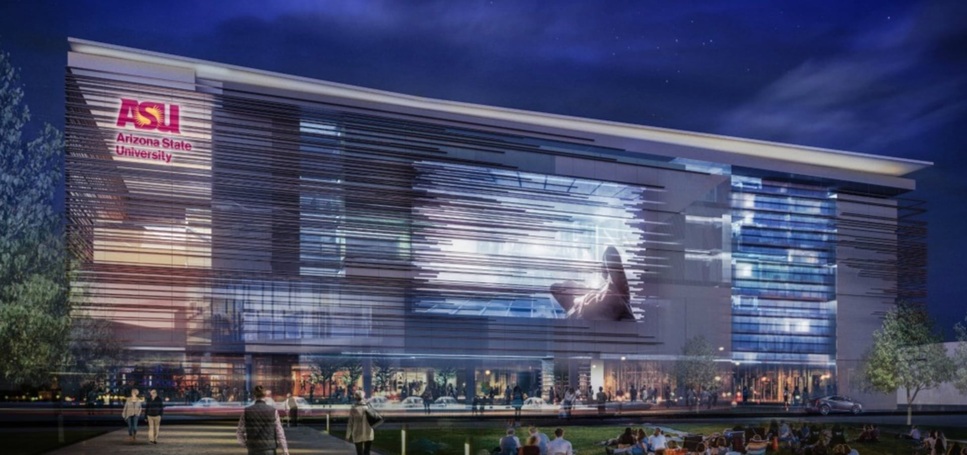 A rendering of the forthcoming new tech-centric ASU campus in Mesa, Arizona