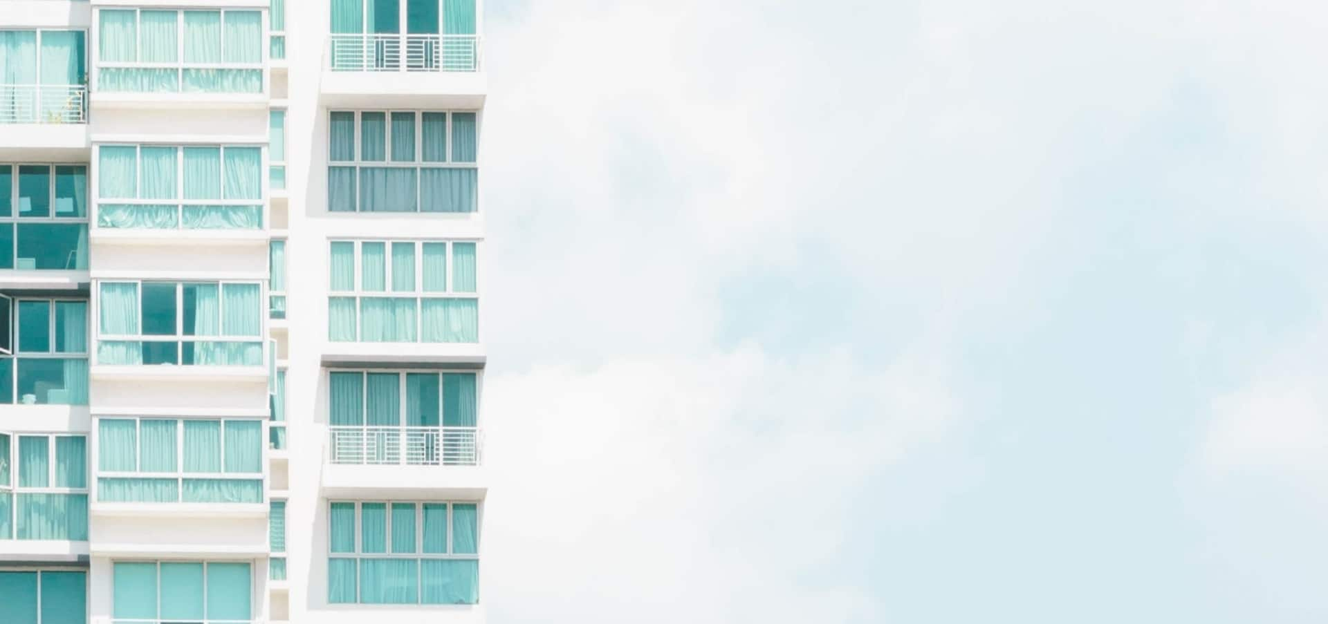 Stock image of a high-rise apartment building
