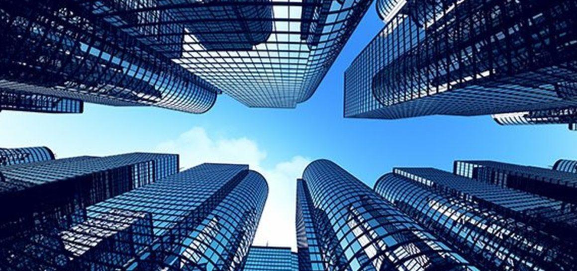 Stock shot of skyscraper buildings