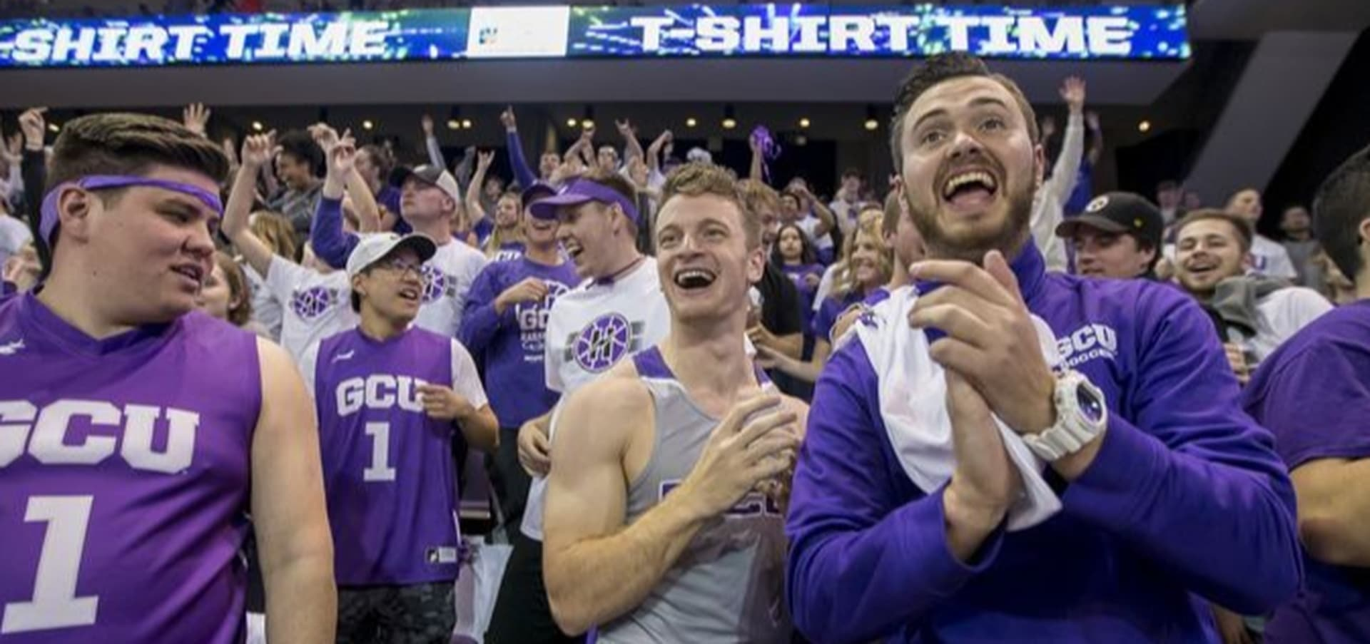 Fans cheer at the Grand Canyon University basketball team at the WAC Conference championship game.