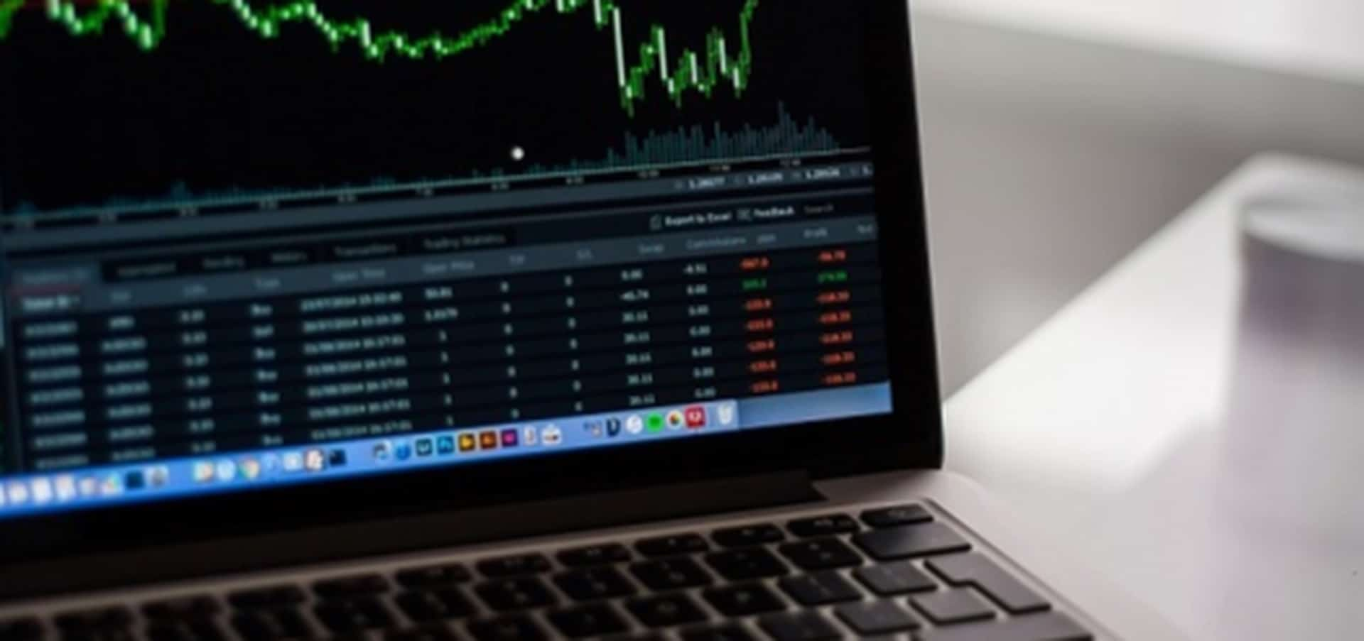 Stock image of the stock exchange on a laptop