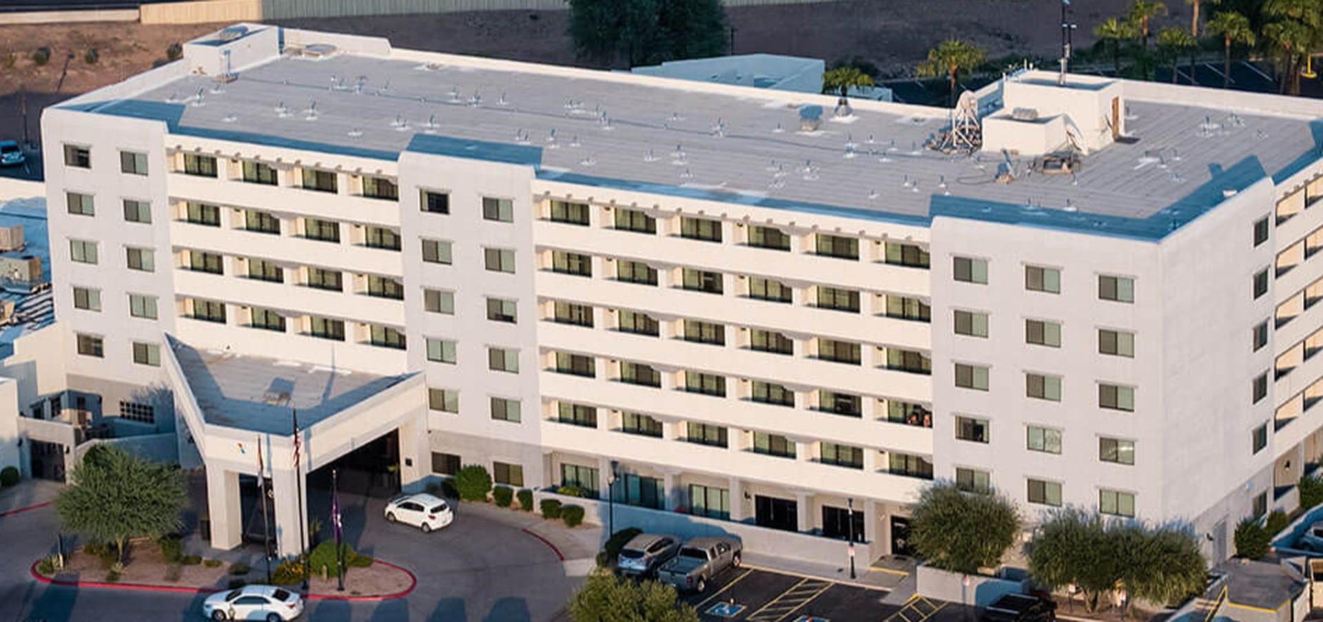 Birds-eye shot an Arizona hotel