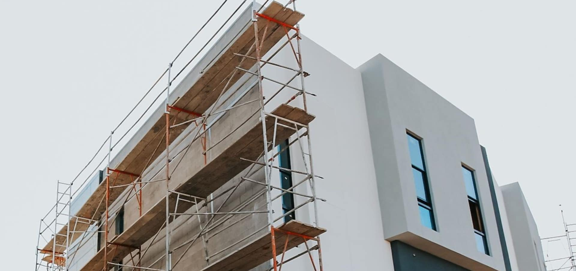 Scaffolding along Eclipse Townhomes construction site
