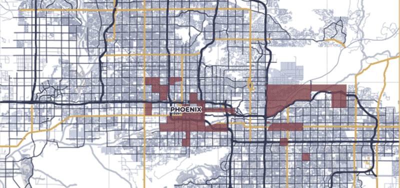 Phoenix Opportunity Zone map for decoration