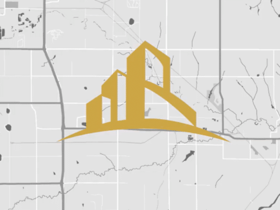 Caliber logo mark over map for decoration