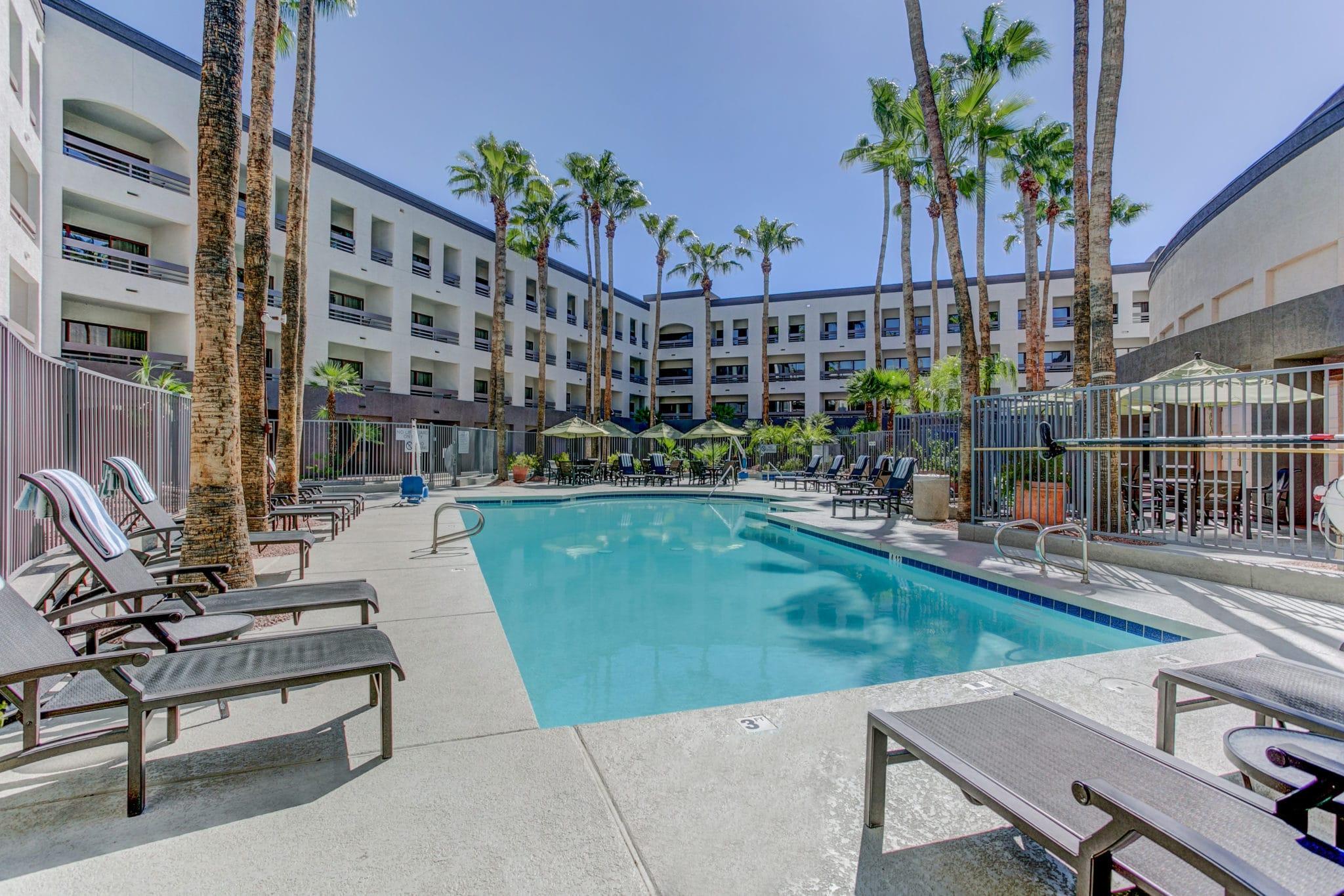 Pool area at the Hilton Phoenix hotel