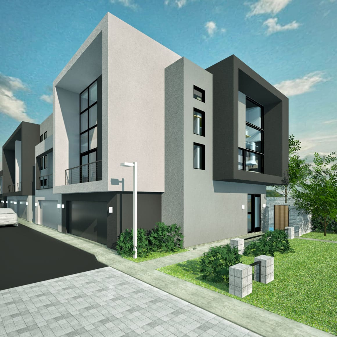 A rendering of The Roosevelt Townhomes in Tempe