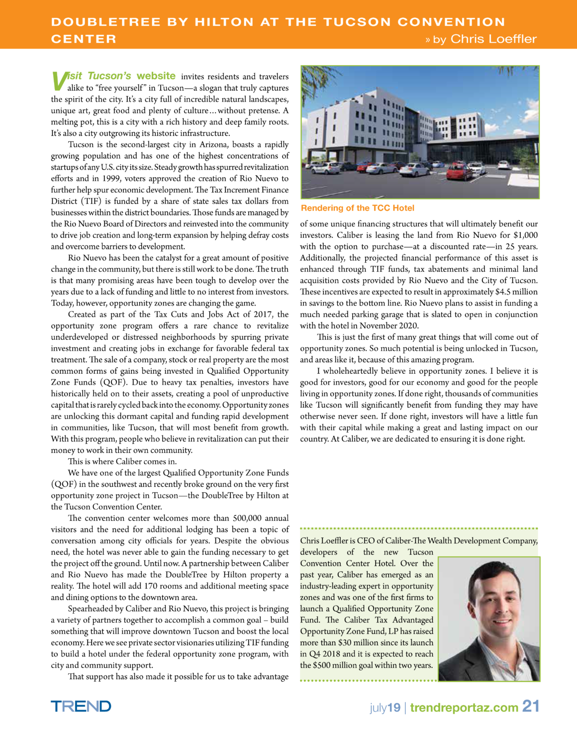 PDF of a Chris Loeffler-bylined article in Trend Report AZ's July 2019 issue.