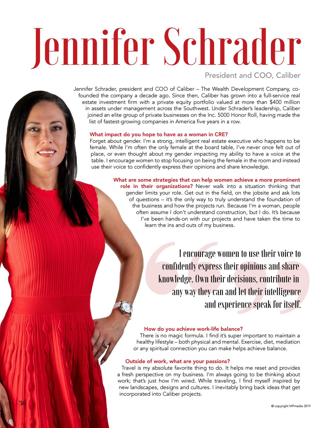 Jennifer Schrader's Women in Power feature in the 2019 edition of Executive Magazine