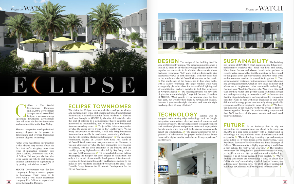 A PDF of the two-page Eclipse Townhomes feature in Commercial Executive Magazine