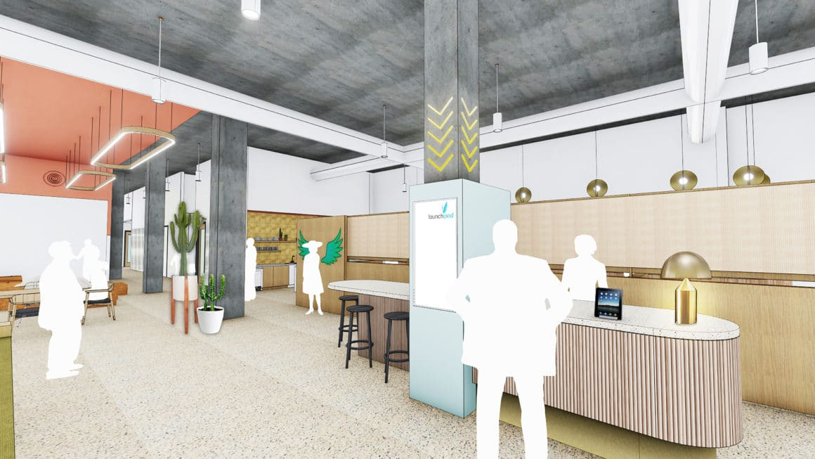 rendering of launch pad coworking space