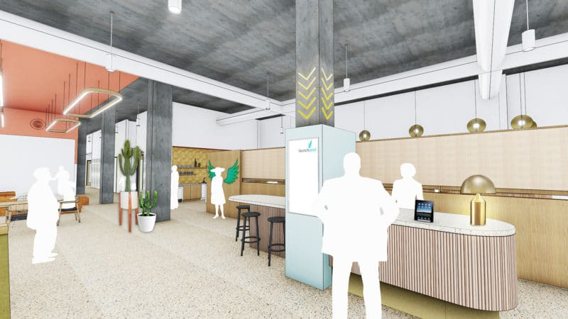 ARTIST RENDERING FROM INSIDE THE FUTURE LAUNCH PAD COWORKING SPACE. Courtesy of Gensler
