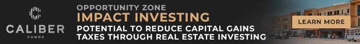 Caliber Funds Impact Investing Ad | Opportunity Zone Impact Investing | Potential to reduce capital gains taxes through real estate investing.