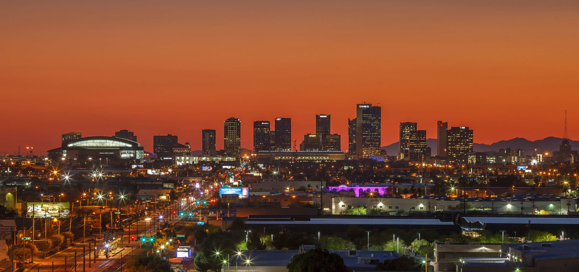 Crowne Plaza Phoenix dusk view