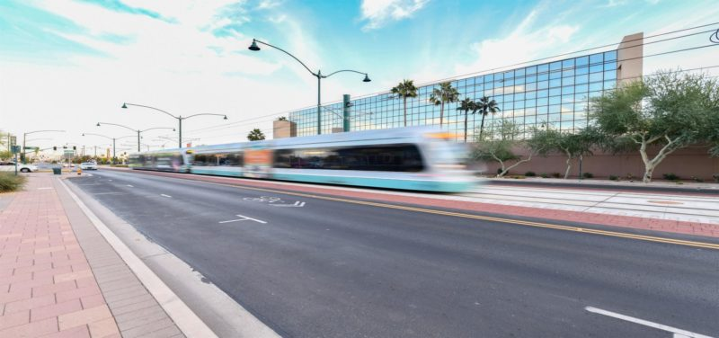Downtown Mesa Lightrail near commercial real estate project
